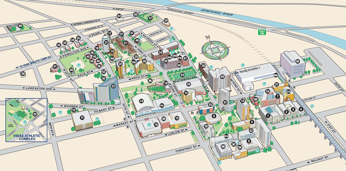 University City Campus Map Drexel University Campus Map University City Drexel