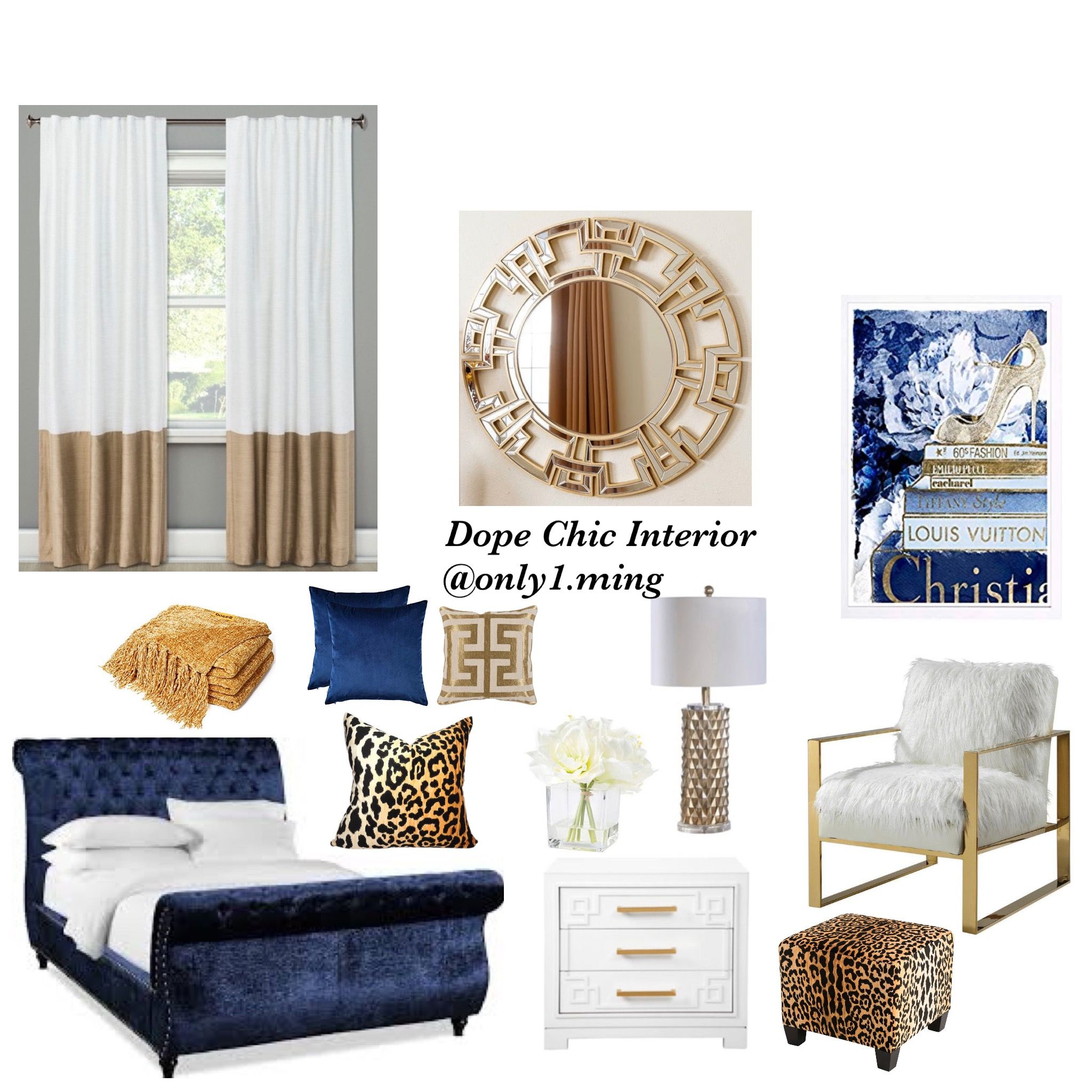 Royal Blue White And Gold Bedroom In 2020 Blue Bedroom Decor
