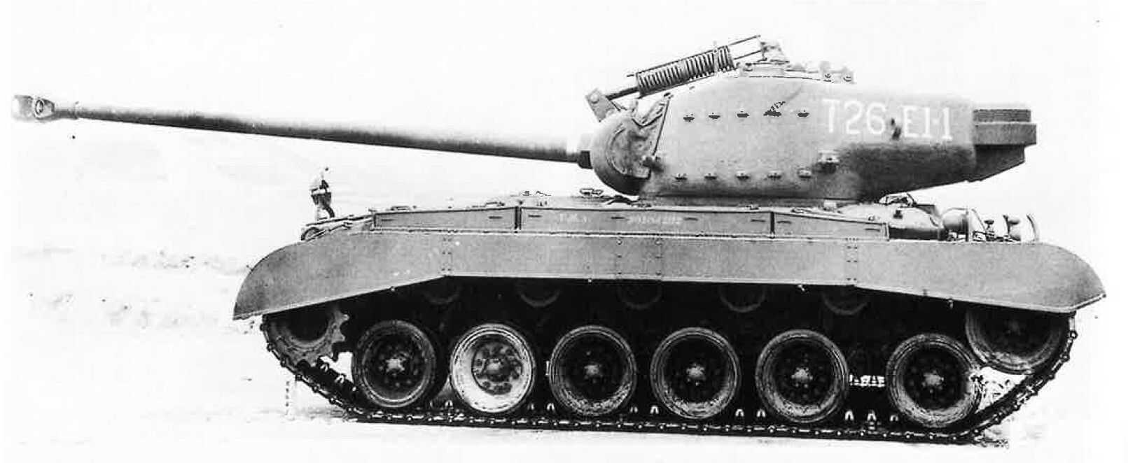 This T26E4 prototype was based on a T26E1 vehicle. The old designation can still be seen on the turret. Here seen at the Aberdeen Proving Ground