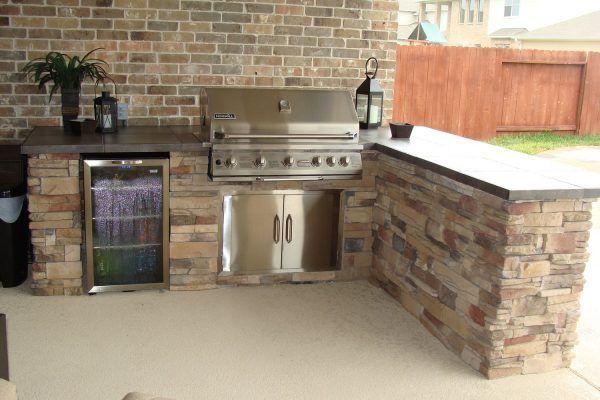 Impressive Prefabricated Outdoor Kitchens Houston With Faux Brick Design Outdoor Kitchen Wall Also Build Outdoor Kitchen Outdoor Kitchen Outdoor Kitchen Island