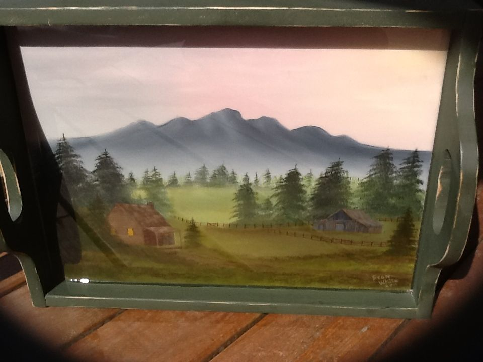 This is a 14x19 Hand Painted Tray. Cabin & Old Barn in the distant pasture.