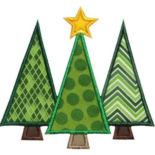 Three Christmas Trees Applique Design Machine Applique Designs Christmas Applique Designs Christmas Applique