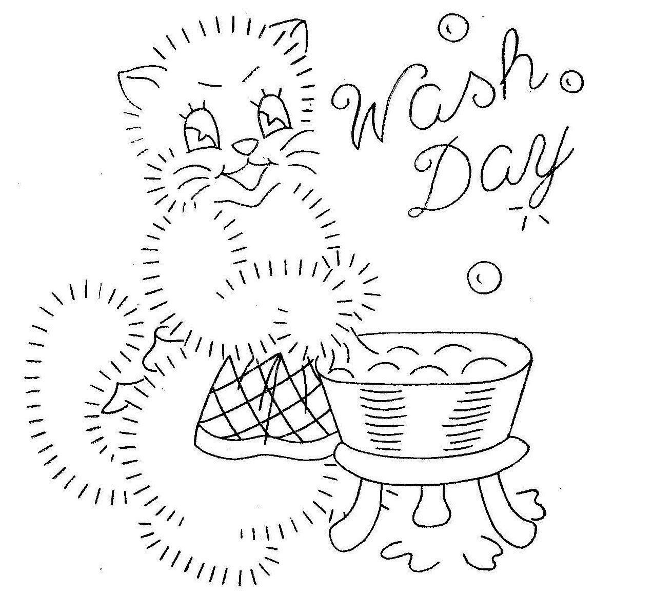 3124 hand embroidery pattern happy kittens for chore days tea vintage hand embroidery pattern 3124 kittens for tea towels monday wash bankloansurffo Images
