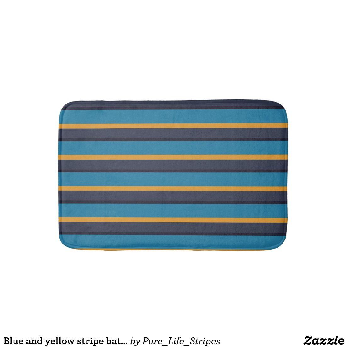Blue And Yellow Stripe Bath Mat Striped Bath Mats Bath Mat Rug