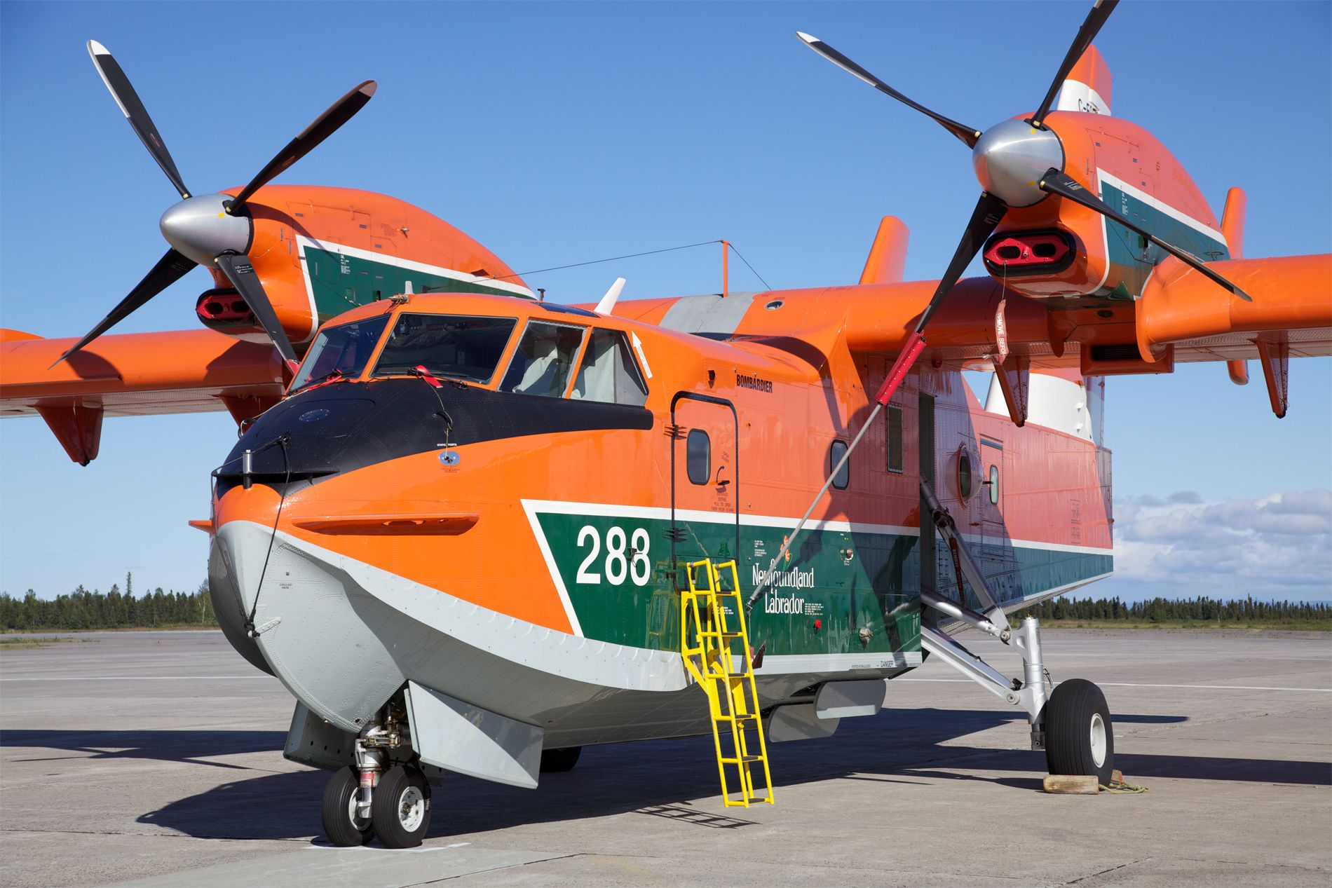Big sea plane at Goose Bay airport for fire fighting.