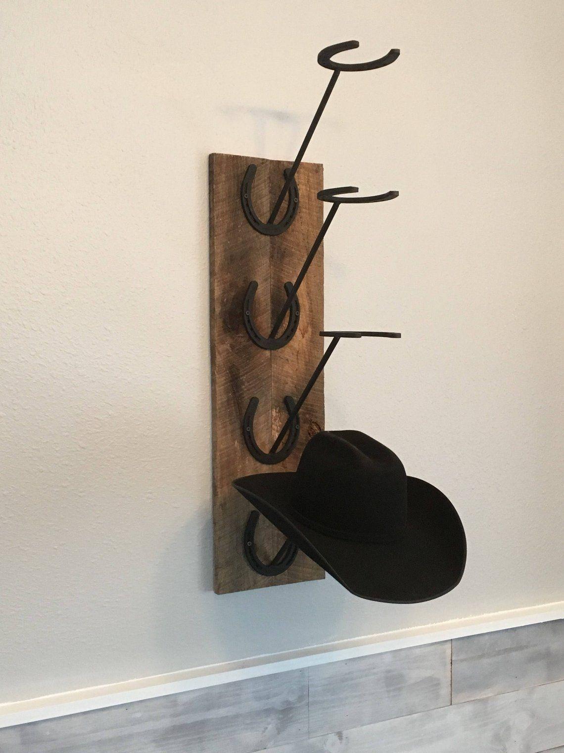 Horseshoe And Barn Wood Cowboy Hat Rack Etsy Horseshoe