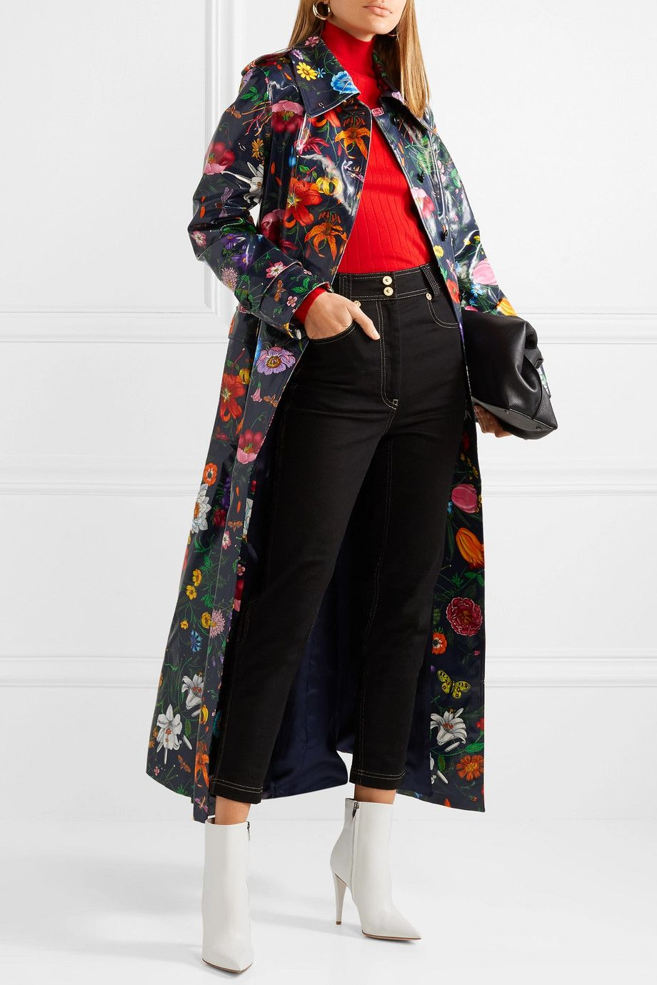 Gucci Oversized Floral Print Coated Cotton Drill Trench Coat Net A Porter Com Print Coat Coat Trench Coat