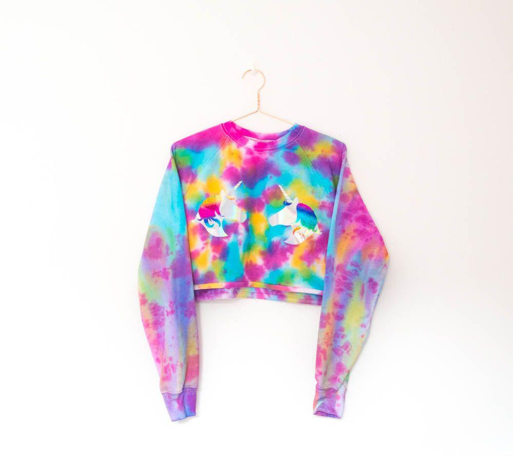 c7afadd8500f2 Tie Dye Unicorn Sweater S/M/L/XL | bigfoot | Crop top sweater, Tie ...