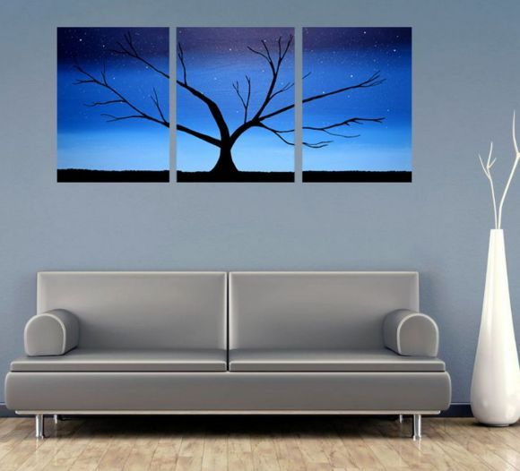 Triptych 3 panel wall art color rainbow images tree in blue 3 panel canvas