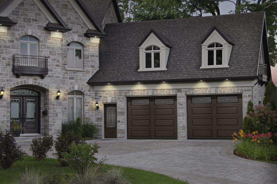 Moka Brown Garage Door Colors On A Stone House Porte De