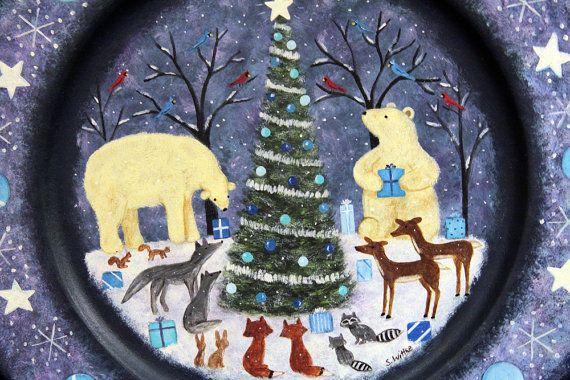 Folk Art Christmas Wood Plate  MADE TO ORDER  by RavensBendFolkArt