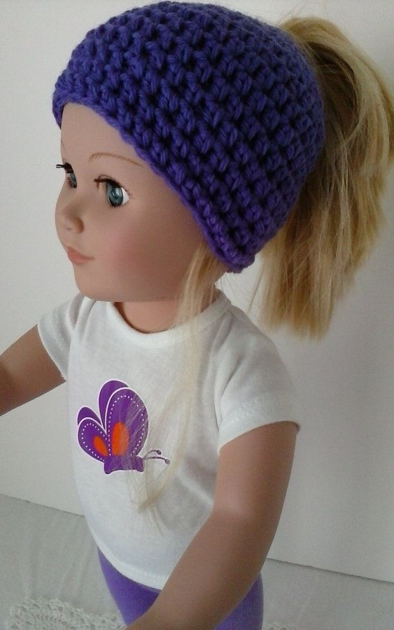 Messy bun hat for your doll - 18 inch doll hat - Doll ponytail ...