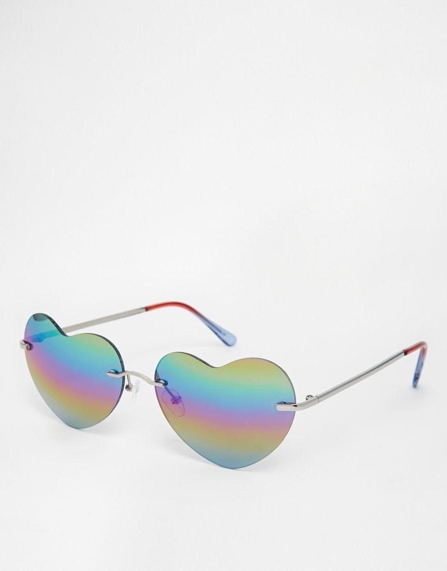 c796106d45f85 Imagen 1 de Gafas de sol de corazón con lentes Flash de ASOS ...