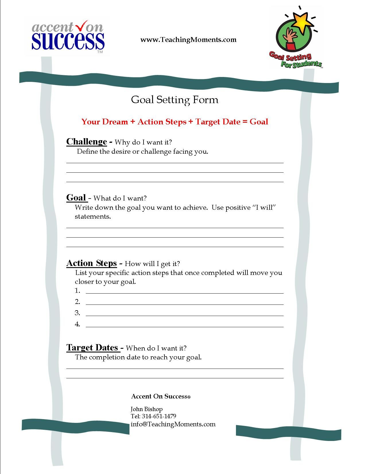 Goal Setting Worksheet  The Leader In Me And The Seven Habits