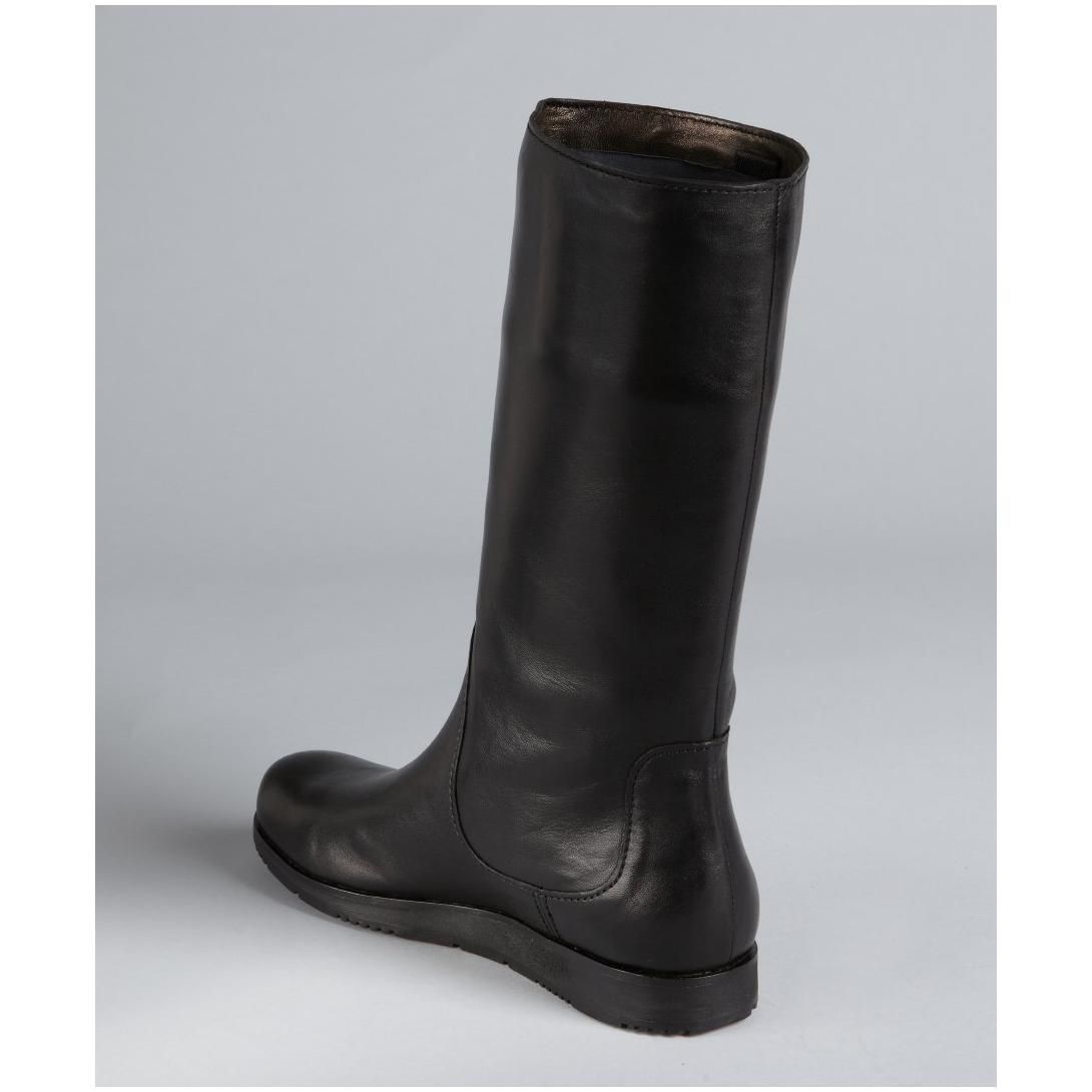 Prada women's Prada Sport black leather mid-calf boots