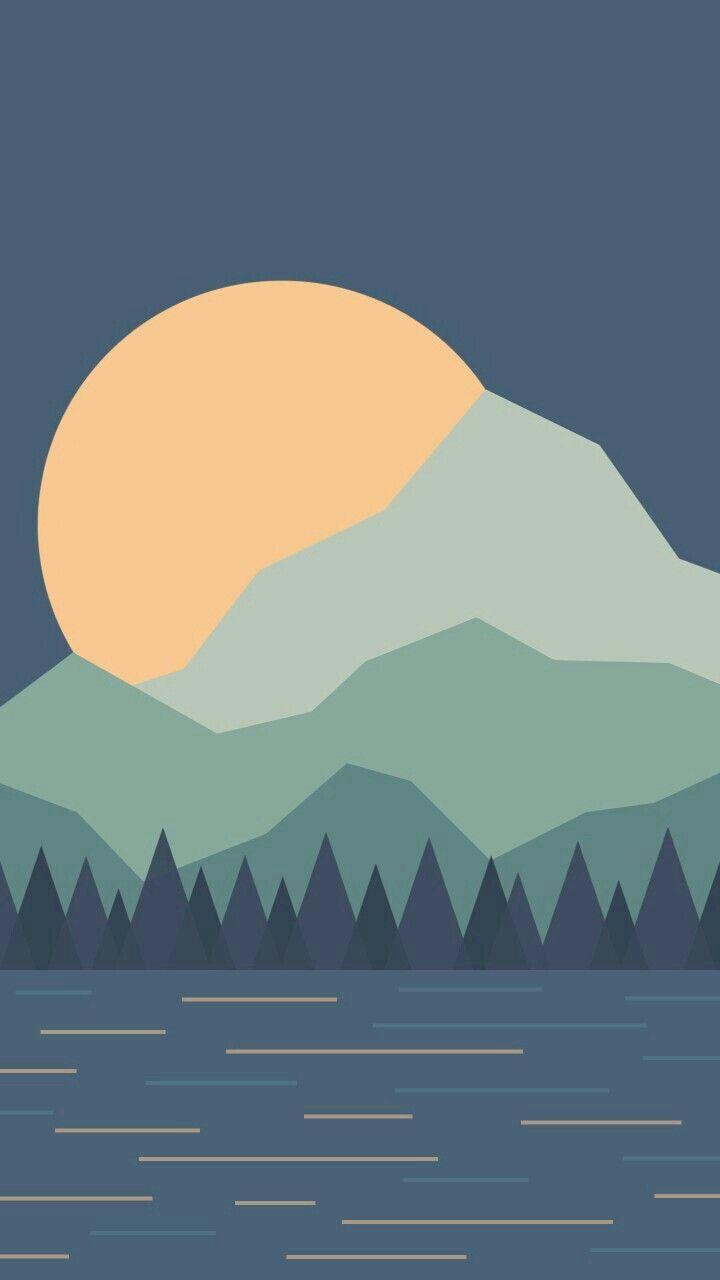 Landscape Illustration Minimalist Landscape Illustration Art Wallpaper Landscape Illustration Art