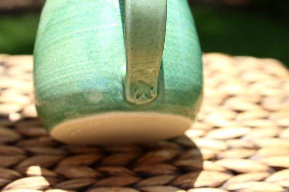 Ceramic STARFISH Mug Handmade Blue-Green by potterygal66 on Etsy