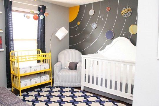 idea para decorar una habitacin de beb temtica el universo y los planetas es la temtica elegida para decorar esta original habitacin de beb - Habitaciones De Bebe Originales