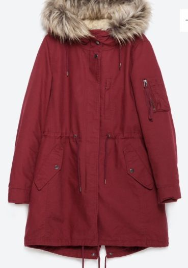 Zara mens red parka
