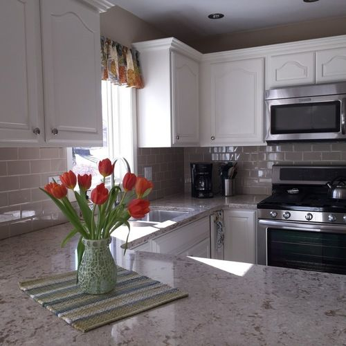 This kitchen was in desperate need of a remodel: honey oak ...