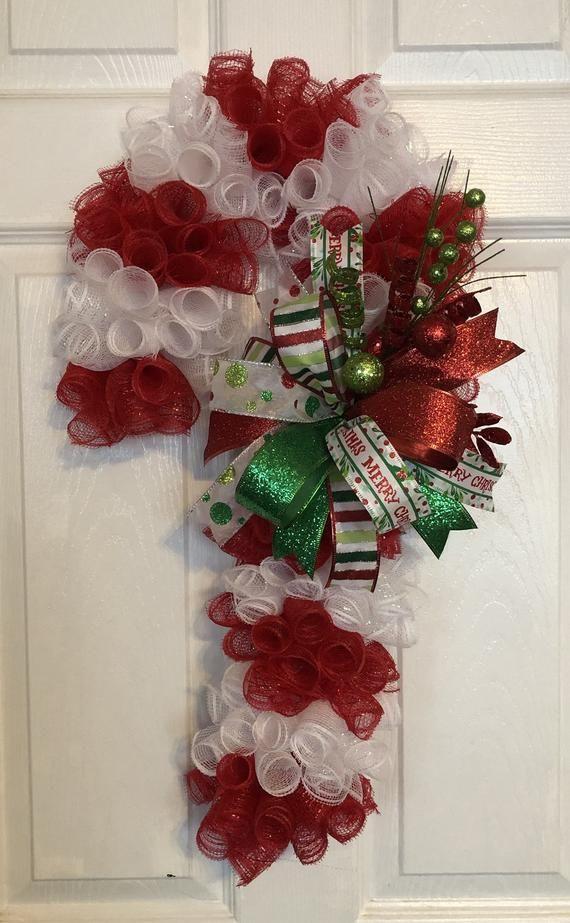 24 Navidad Deco Malla Caramelo Caña de Caña / Colgador de puerta con arco #decomeshwreaths