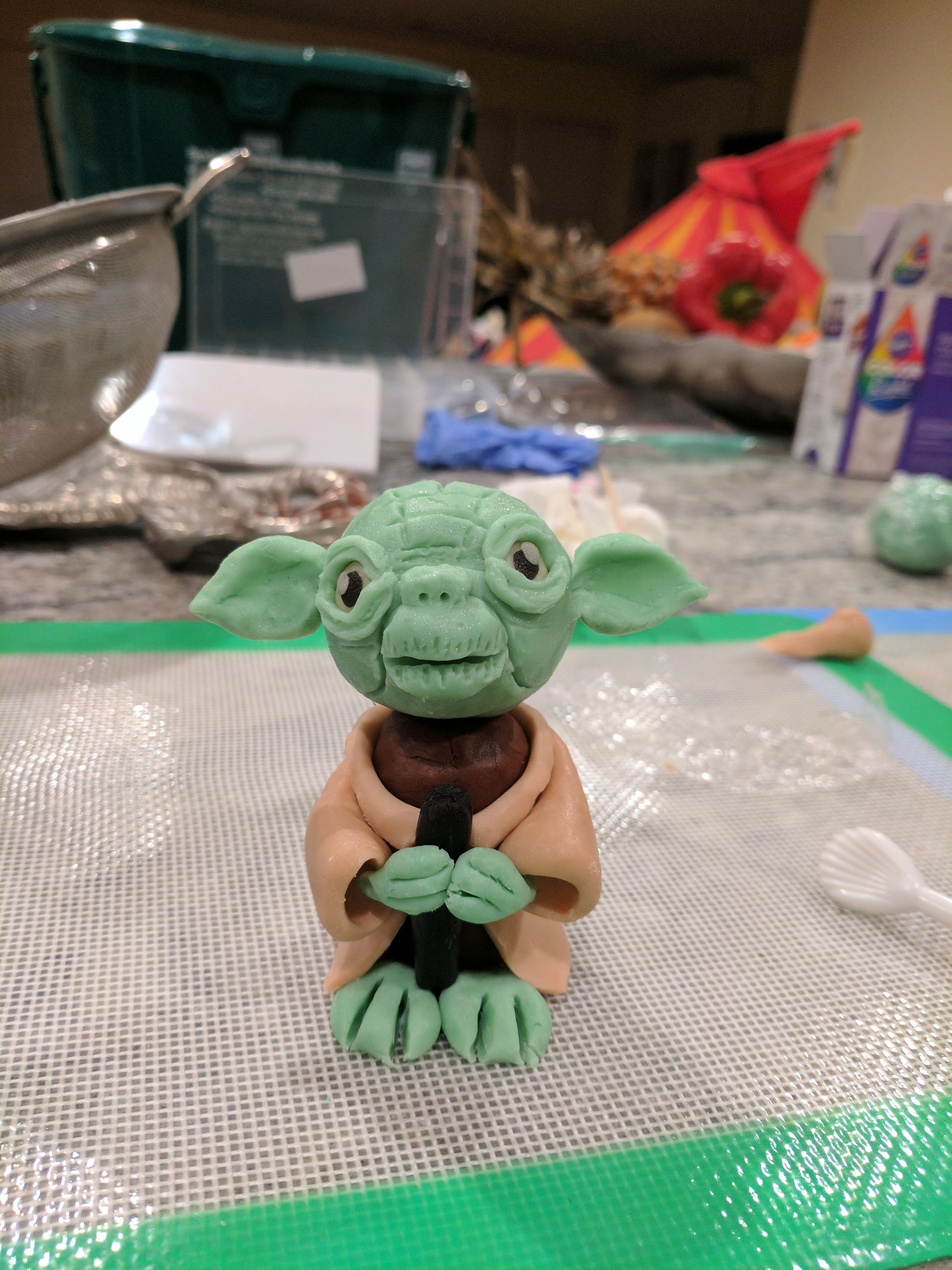 I made this yoda cake topper for my nieces star wars