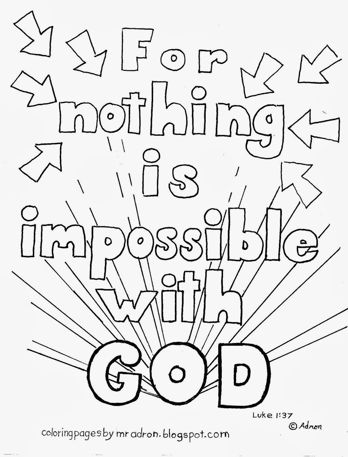 Coloring Pages For Kids By Mr Adron Nothing Is Impossible God Free Page Luke 137