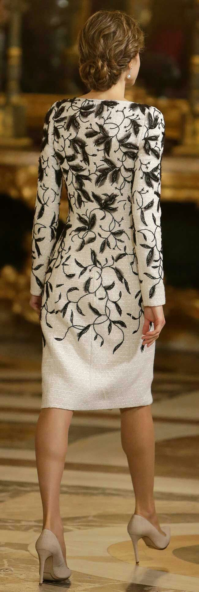 Queen Letizia - Felipe Varela white tweed coat dress with black hand embroidered crystal and georgette. Back