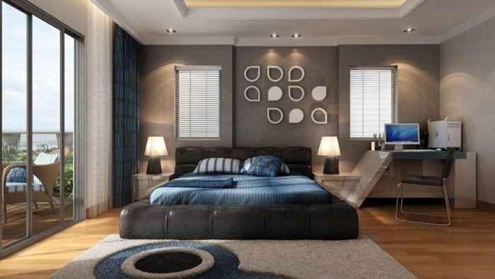schlafzimmer einrichten modernes bett schöne akzentwand blaue - modernes schlafzimmer komplett