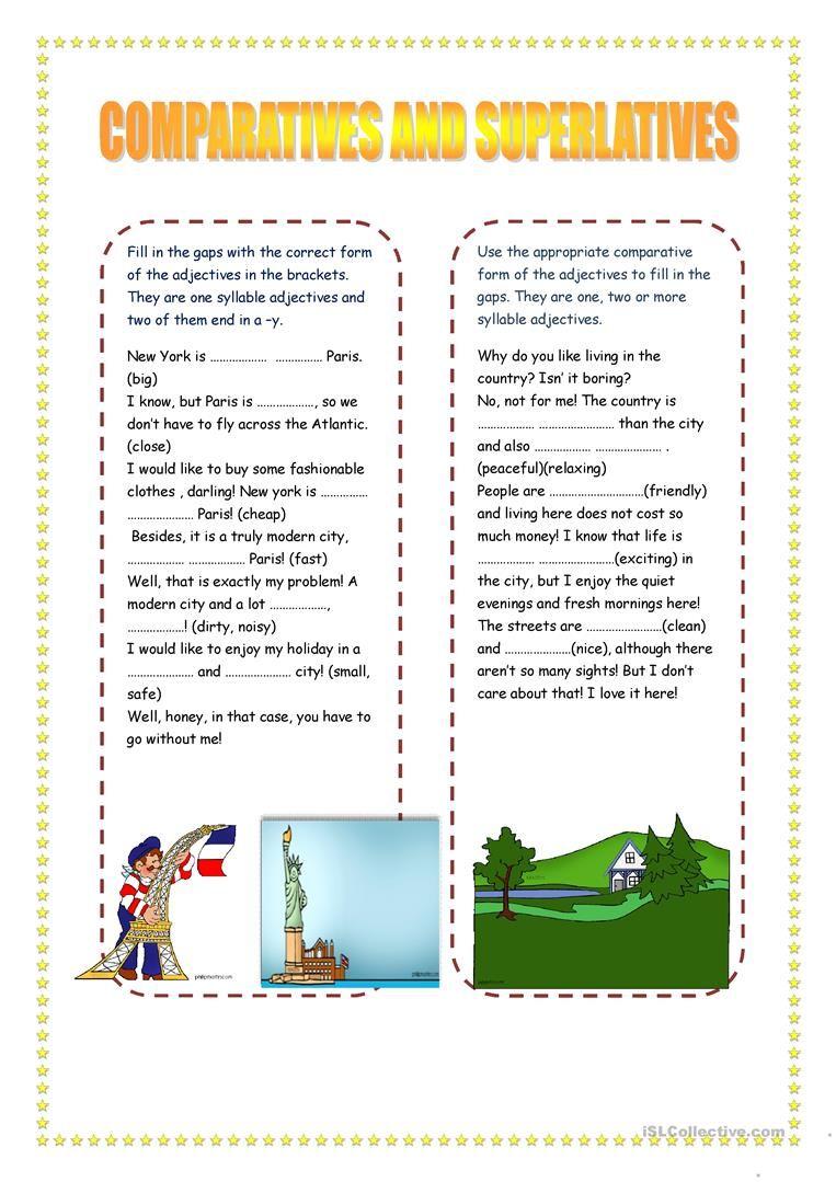 COMPARATIVES AND SUPERLATIVES I. English ESL Worksheets