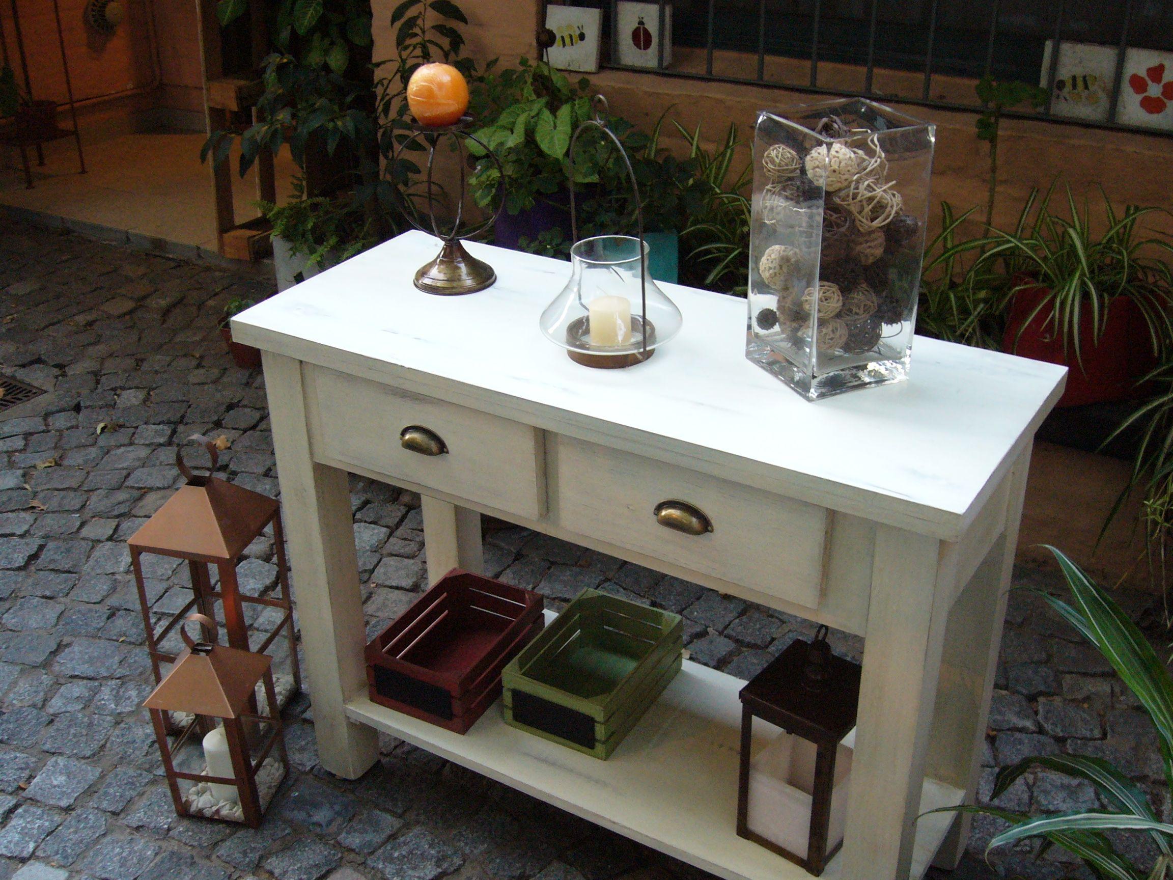 Mesa De Arrime Decapada En Color Natural Cosas Para Comprar  # Muebles Tirso De Molina