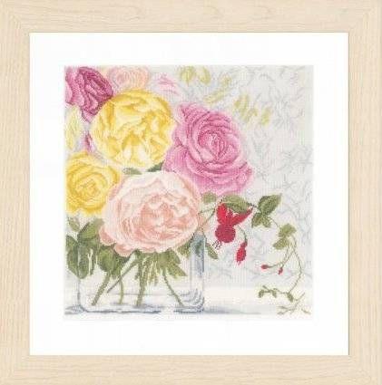 Набор для вышивания Lanarte PN-0155030 Пастельные цветы в вазе
