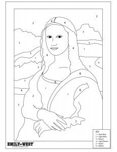 Mona Lisa Color By Number Mona Lisa Drawing Art Coloring Pages