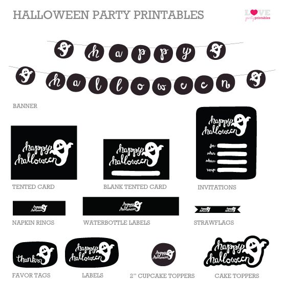 FREE Halloween Party Printables from Love Party Printables - free halloween decorations printable
