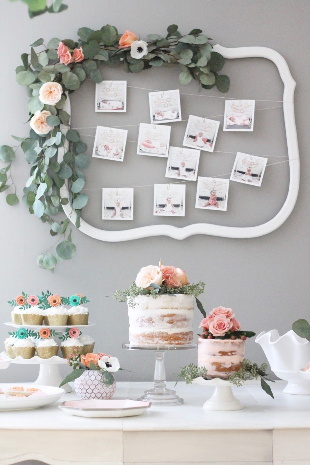 Love all the pretty details of this party table + the florals around the frame | Parties | Baby Shower | Spring