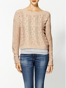 Hazel Cable Crew Sweater | Piperlime  Love this look. Pink sweater over grey tank with jeans.