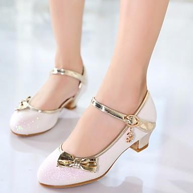 c8eae55ee2d3 Girls  Shoes Sparkling Glitter   PU(Polyurethane) Spring   Fall Comfort   Flower  Girl Shoes   Tiny Heels for Teens Heels for Gold   White   Pink