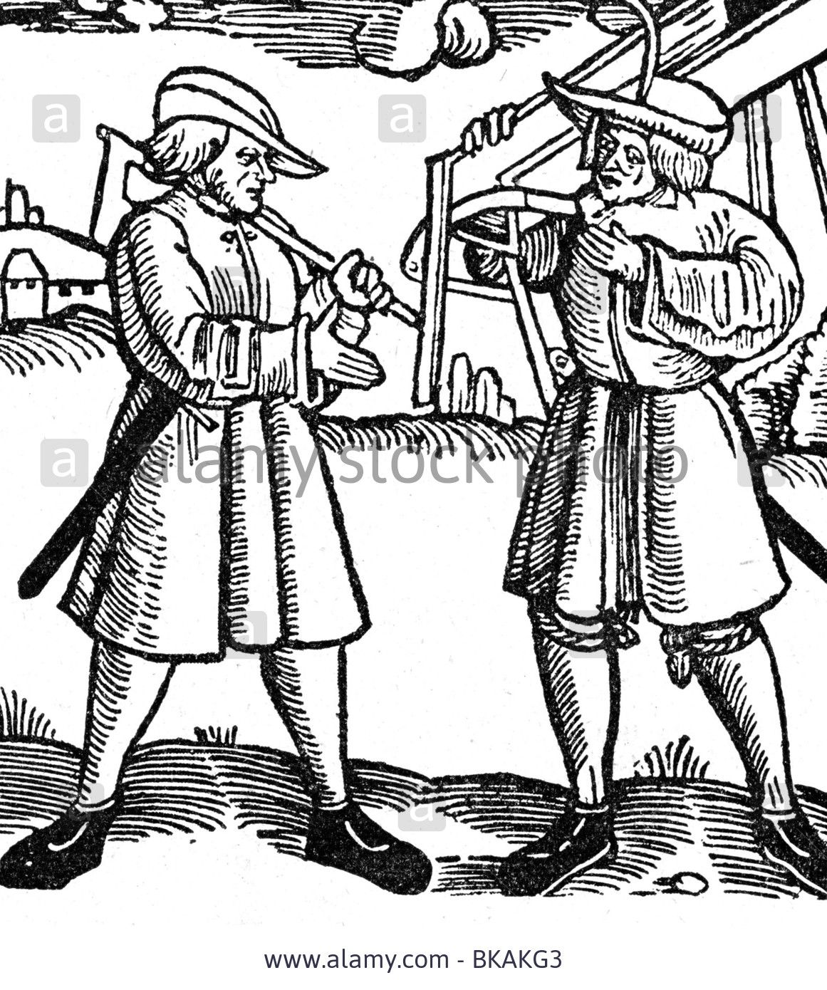 agriculture, peasants, Germany, 16th century, two peasants