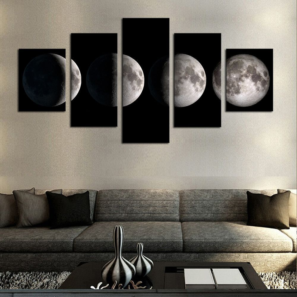 5 Piece(No Frame)Moon Modern Home Wall Decor Canvas Picture Art HD Print  Painting On ...