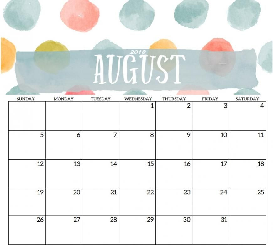 Blank August 2018 Calendar, August 2018 Printable Calendar, Calendar