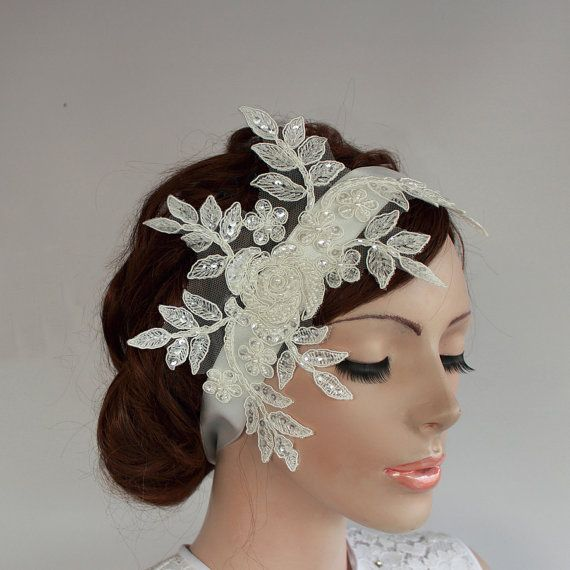 Beady Weddings Fascinator Off White Cream Bridal by MammaMiaBridal, $47.00