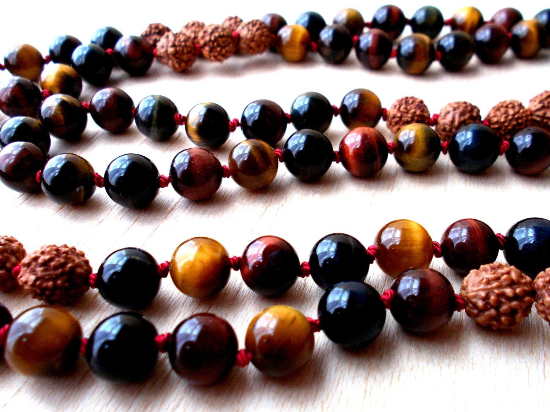 Mens Rudraksha Mala Necklace Mens Tiger Eye Buddha Mala Beads Mantra Beads 108 Buddhist Rosary Praye Rudraksha Jewelry Rudraksha Mala Necklaces Mala Necklace