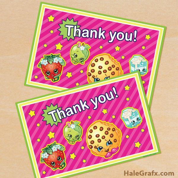 Free Printable Shopkins Thank You Card Shopkins Printables