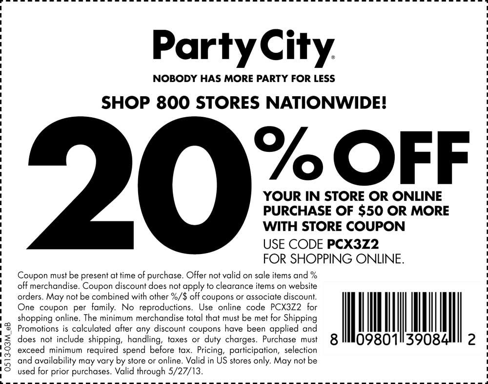 Pinned May 26th 20 off 50 at Party City, or online via