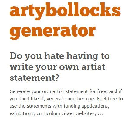 instant artist statement generator this could be a fun way to tackle deeper exploration of artist statements with advanced students