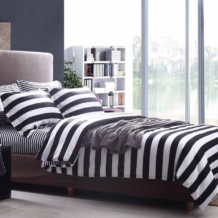 Black And White Striped Bedding Unisex Brief Collections Bed Sheet Sets  #872|black And White Bedding