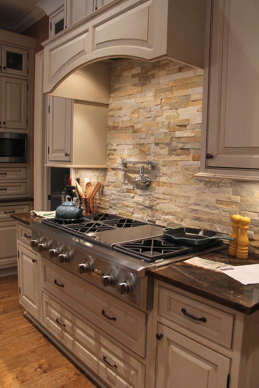 Natural Stone Back Splash Modern Farmhouse Kitchens Stacked