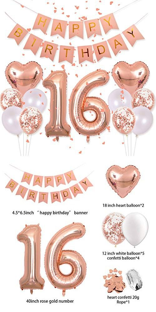 Birthday Decorations Pink Happy Birthday Banner 40inch Rose Gold Number 16 Balloons Rose Gold Confetti Balloons 1″ in Diameter Heart Confetti for 16th Birthday Party Supplies Photo Props