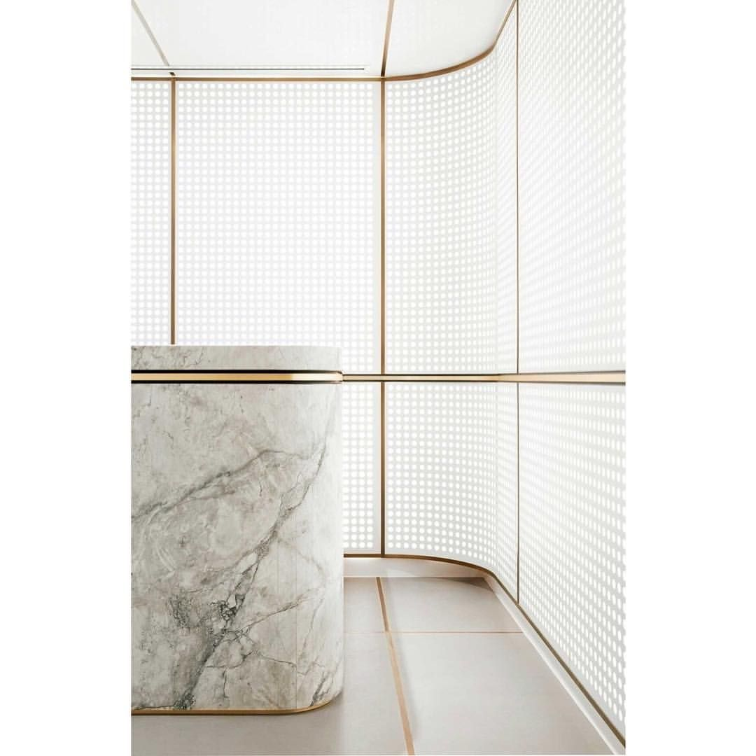 Oh Mim oh My, and they do it again! Detail perfect by @mimdesignstudio for #Landream office.  #details #screen #perforated #lighting #perfection #marble #brass