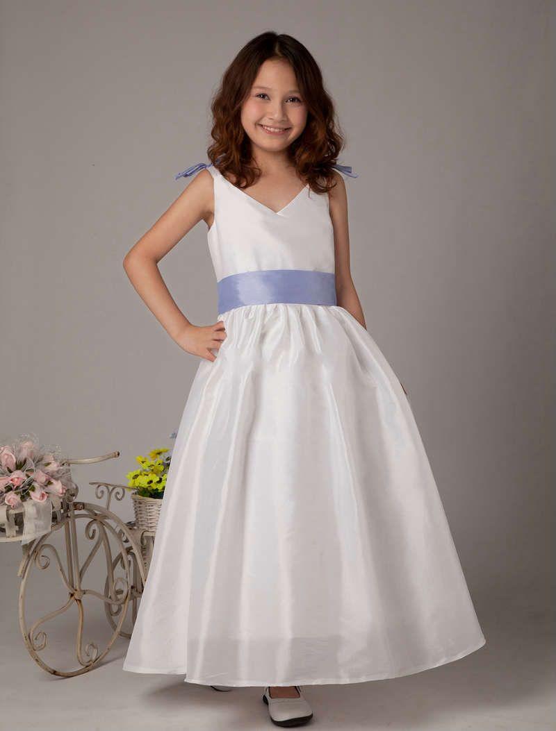 Ankle length v neckline white flower girl dresses cheap girl ankle length v neckline white flower girl dresses izmirmasajfo